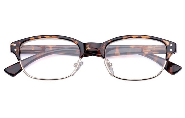 FAH black and silver   metallic-acetate framed fashion reading glasses