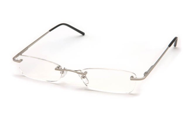 FLN Rimless Reading Glasses with silver bridge and arms