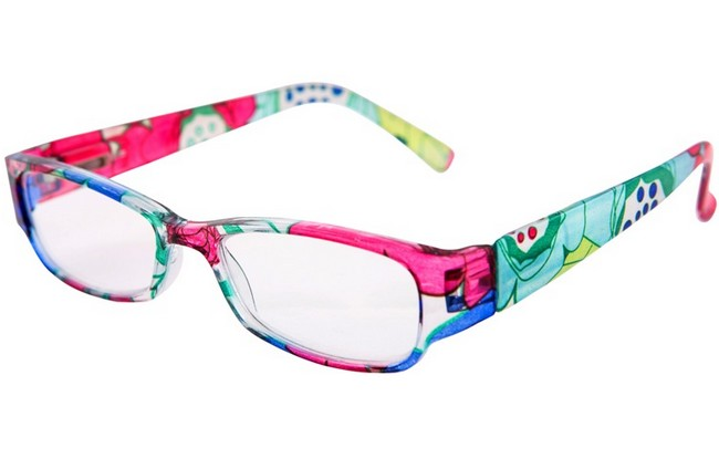 FW2 acrylic floral reading glasses in black and pink aqua