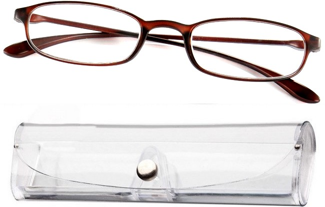 FX1 rimless flexible eyeglasses with brown bridge-arms and free tranparent case