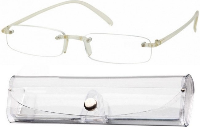FXC Frameless Memory Flexible Reading Glasses with clear bridge and arms