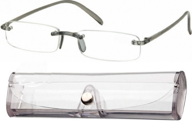 FXG Frameless Memory Flexible Reading Glasses provided with grey bridge and arms