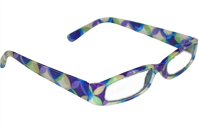 Patterned reading glasses consisting of frames with regular repeated ...