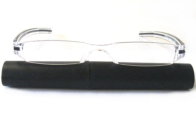 RLB rimless plastic eyeglasses with black plastic elliptic tube with slide-on top
