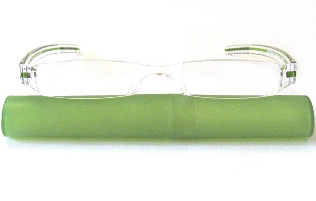 RLL rimless plastic eyeglasses with green plastic elliptic tube with slide-on top