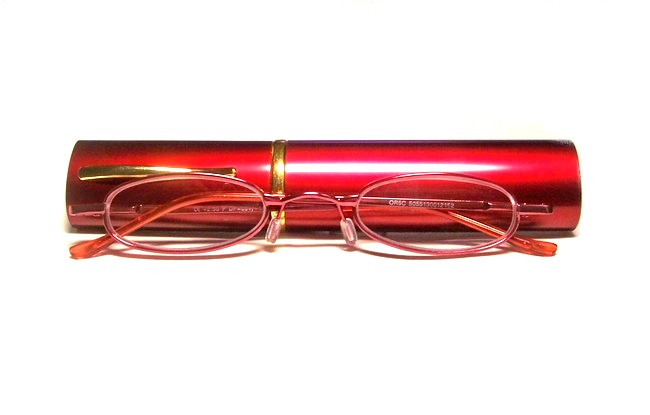 Red framed tube readers come with a free hardshell elliptic container with slide-on top
