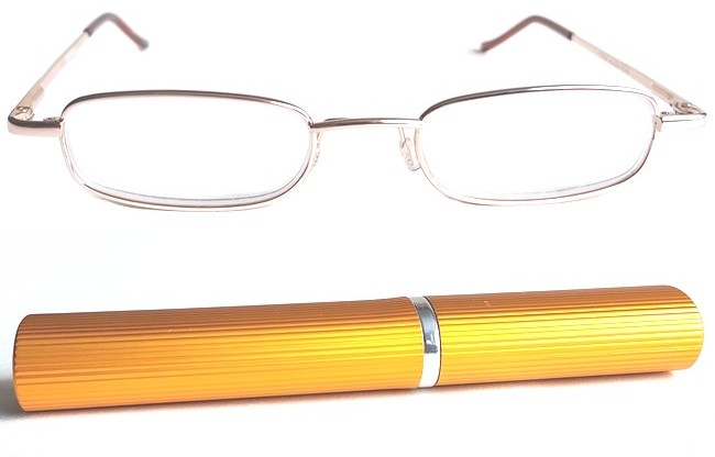 TCG gold full rim frame and gold corrugated metallic tube with pocket clip