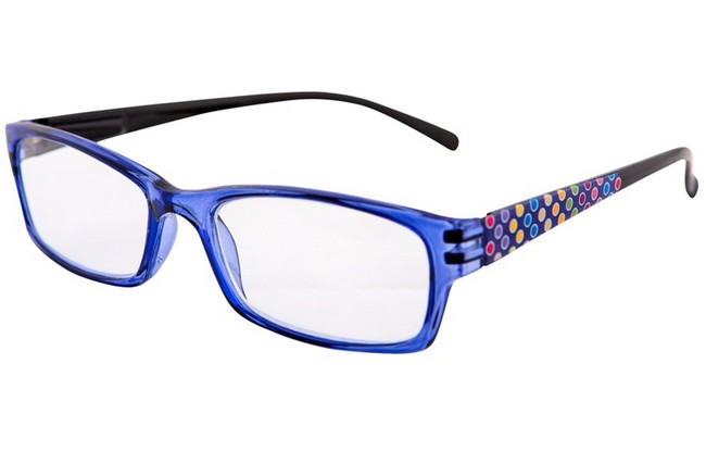 Type XD7 purple-blue frame multi with coloured spot design on arms